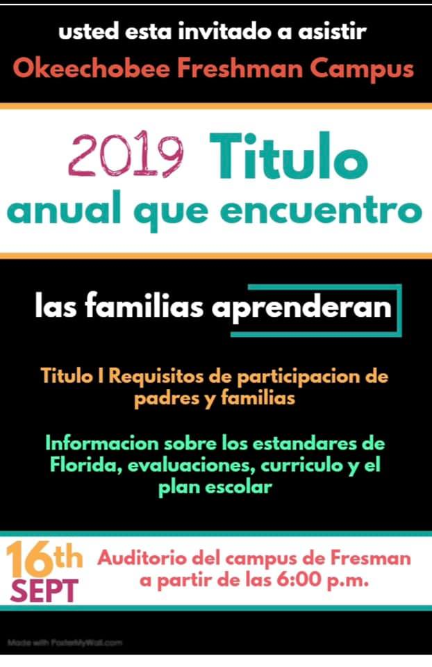 Spanish announcement of Title 1 meeting